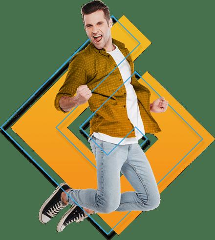 Junger Mann springt vor Geld.at Logo