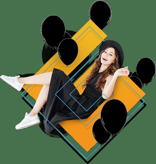 Mädchen sitzt auf Geld.at Logo mit schwarzen Luftballons