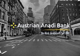 Logo von Austrian Anadi Bank mit Stadt im Hintergrund