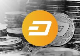 """Icon mit dem Logo der Kryprowährung """"Dash"""" und Münzen im Hintergrund"""