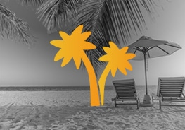 Palmen Icon mit Strand im Hintergrund