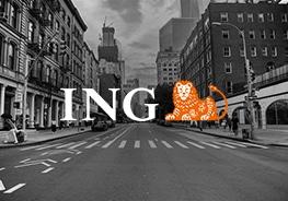 """Logo von """"ING"""" mit Stadt im Hintergrund"""